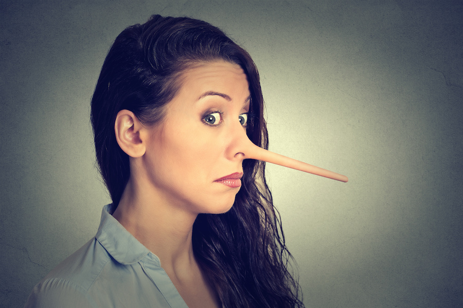 woman with long nose. Liar concept. how home sellers force real estate agents to deceive them.