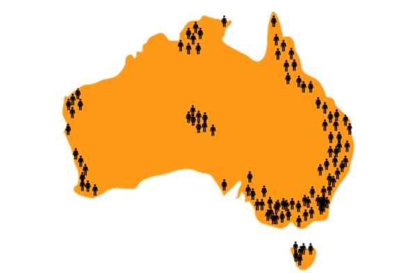 Aus Map with People