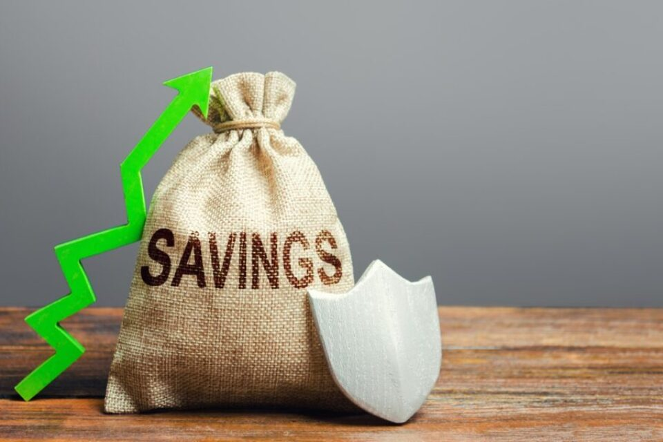 Savings bag, green up arrow and shield. Protection funds and investments, security garnishment and augmentation. Deposit at bank. Profitable safe investment. Economic stability and prosperity. Pension