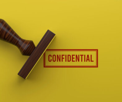 CONFIDENTIAL Rubber Stamp On Yellow Background 3D Rendering