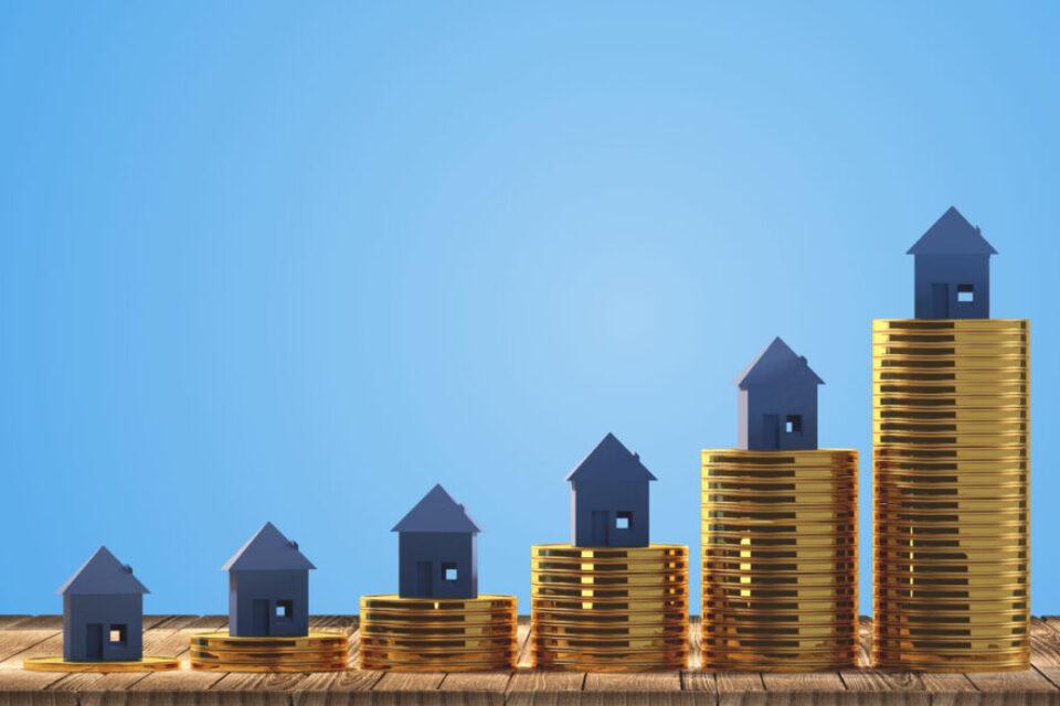rising house stacks 3d-illustration